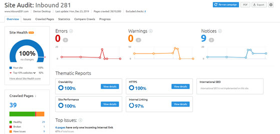 website_performance_tools_semrush_site_audit