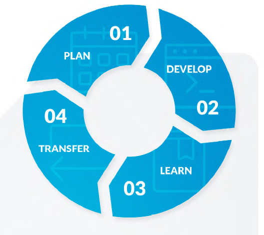 plan, develop, learn, transfer