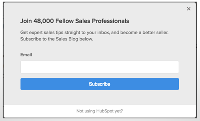 Pop-ups are another useful tool for inbound lead capture.